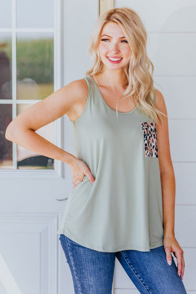 Let It Go Leopard Print Front Pocket Tank Top in Dusty Sage - Filly Flair