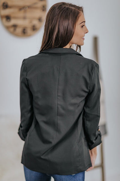 I'm The Boss Here Lapel Collar Pockets Rolled 3/4 Sleeve Blazer in Black - Filly Flair