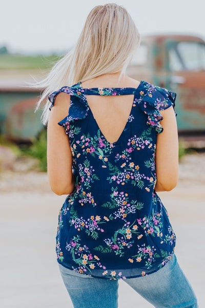 Watch Me Flutter By Floral Chiffon Ruffle Top in Navy - Filly Flair