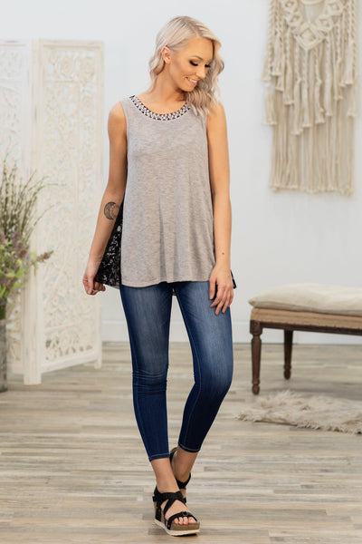 Every Last Detail Side Lace Rhinestone Hem Top in Grey Black - Filly Flair