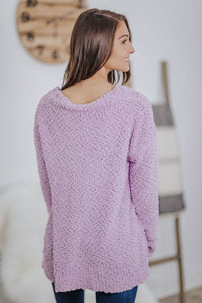 Best Of The Best Popcorn V Neck Sweater in Dusty Lavender - Filly Flair