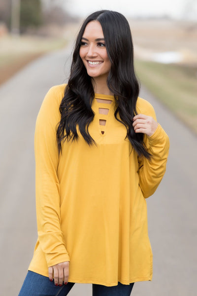 Start Fresh V-Neck Cutout Long Sleeve Top in Mustard - Filly Flair
