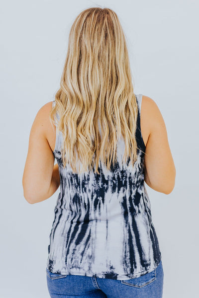 Batter Up Tie Dye Tank in Navy - Filly Flair