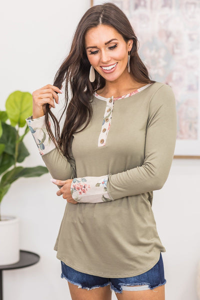Smile Inside Top In Olive - Filly Flair