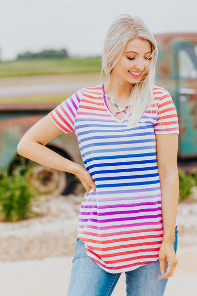 Don't Deserve This Striped Criss Cross Top in Lavender - Filly Flair