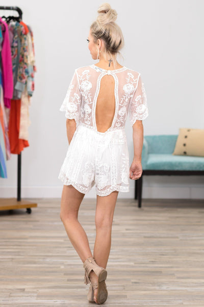 Lovely As Ever Floral Lace Keyhole Back Romper in White - Filly Flair