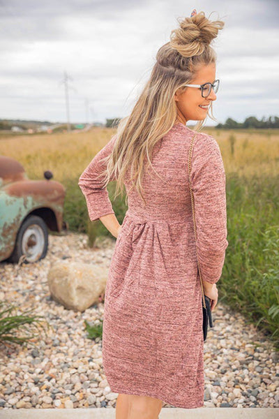 Precious To My Heart Long Sleeve High Waist Gathered Dress in Heathered Mauve - Filly Flair