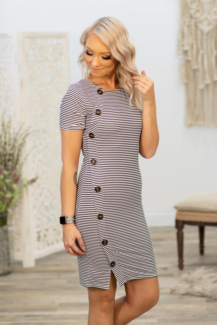 fd990d4d7757 The Rest Don't Matter Striped Button Detail Dress in Black Ivory