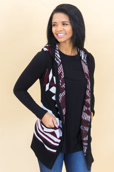 Be The Hero Nordic Pattern Sleeveless Cardigan In Wine - Filly Flair
