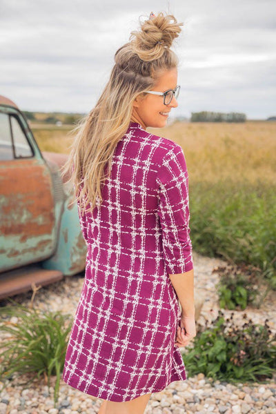 I'll Be By Your Side Printed 3/4 Sleeve Short Dress in Plum - Filly Flair