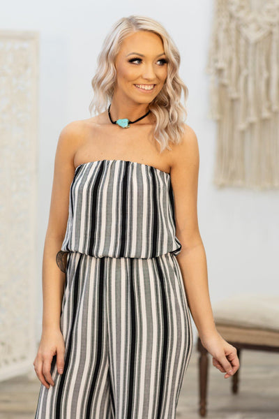 Make You Nervous Striped Jumpsuit in Black White - Filly Flair