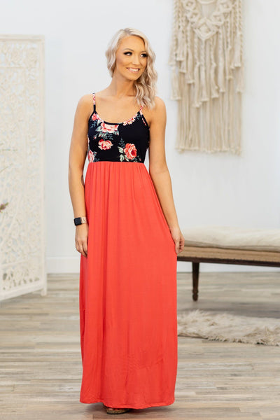 Here With Me Spaghetti Strap Floral Maxi Dress in Coral Navy - Filly Flair