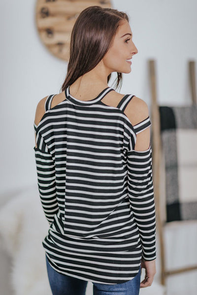 Need You More Striped Cut Out Long Sleeve Top in Black - Filly Flair