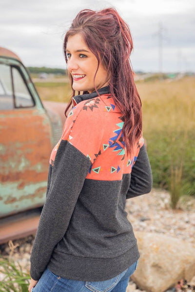Trip To Arizona Aztec Color Block Long Sleeve 1/2 Zip Up Pullover Sweater in Mauve Charcoal - Filly Flair