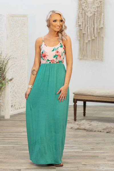 Here With Me Spaghetti Strap Floral Maxi Dress in Pink Turquoise - Filly Flair