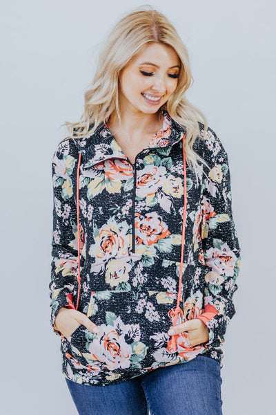 My Favorite Day Floral Pullover In Black - Filly Flair
