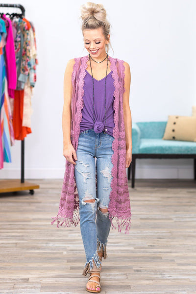 Looking For Something Long Lace Vest in Mauve - Filly Flair