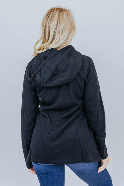 Let's Stay Together Asymmetric Hem Pullover In Black - Filly Flair