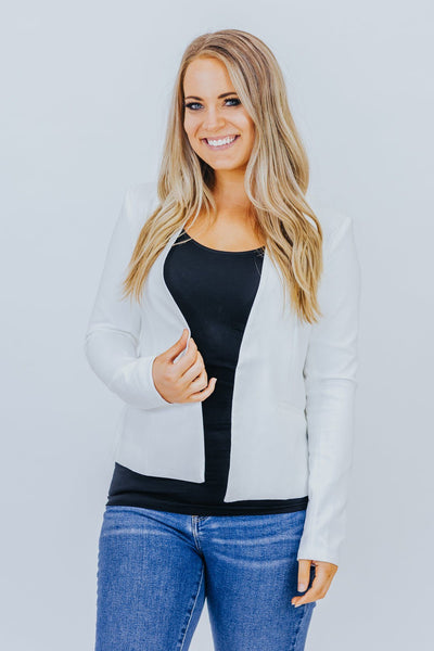 Business As Usual Open Front Blazer Jacket in White - Filly Flair