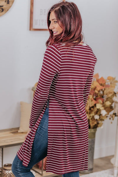 Every Victory Striped Cardigan Long Sleeve in Maroon - Filly Flair