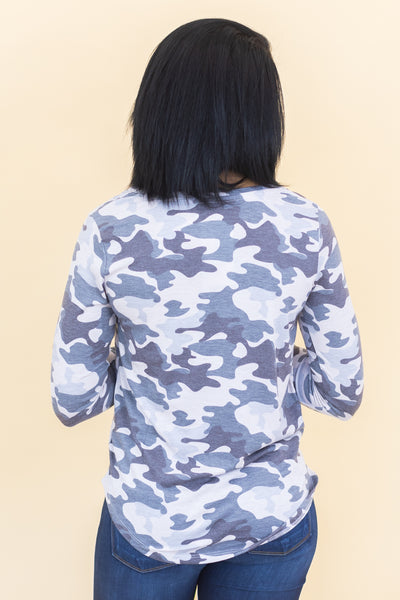 Heal Our World Long Sleeve Top In Light Grey Camouflage - Filly Flair