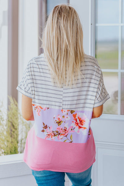 Crazy Like That Striped Colorblock Floral Top in Coral - Filly Flair