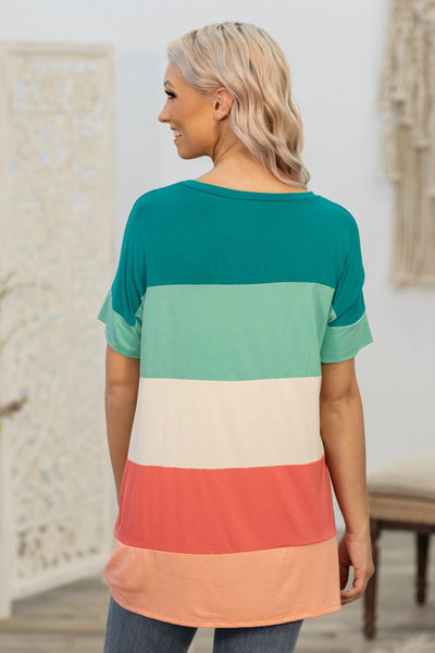 Love You Like I Do Short Sleeve Color Block Top in Teal Coral Peach - Filly Flair