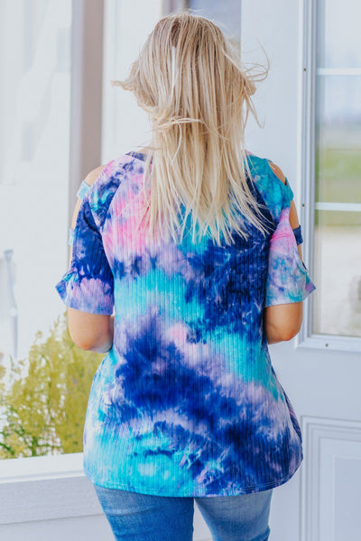 Waiting My Whole Life Cold Shoulder Tie Dye Top in Navy - Filly Flair