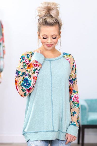 Sparking Old Flames Long Taupe Floral Sleeve Top in Sage - Filly Flair