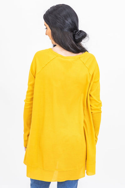 Everything Will Be Alright Long Sleeve Top in Mustard - Filly Flair