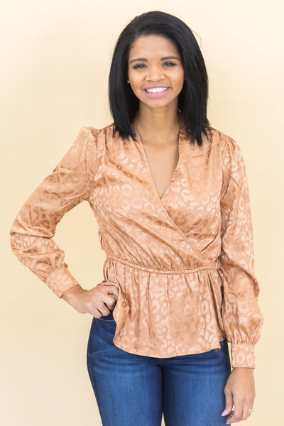 Sugar and Spice Animal Print Wrap Top in Copper - Filly Flair