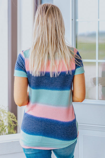 I'll Be Flying Free Color Block V-Neck Tie Dye Short Sleeve Top in Blush - Filly Flair