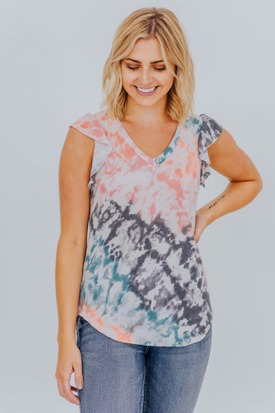 Holding On To Us Tie Dye Ruffle Short Sleeve Top in Coral - Filly Flair