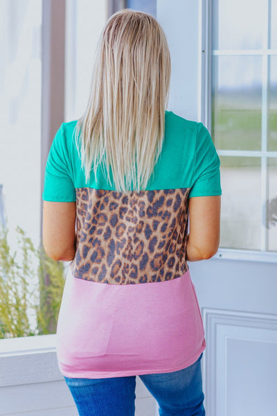 Girls Will Be Girls Color Block Leopard Print Front Knot Short Sleeve Top in Green - Filly Flair