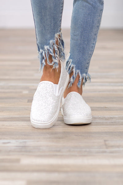 Forever Fun Slip On Sneaker in White Glitter - Filly Flair