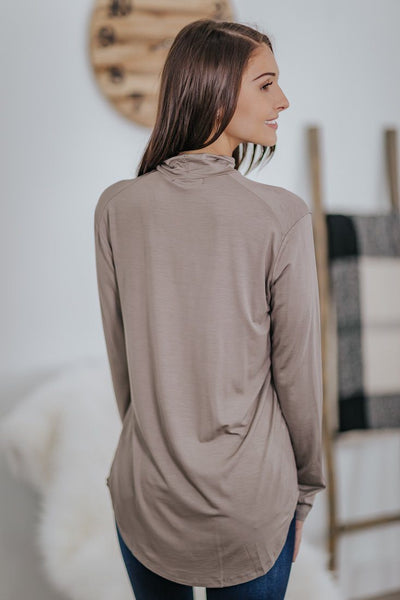 Remember Your Basics Long Sleeve Mock Neck Top in Mocha - Filly Flair