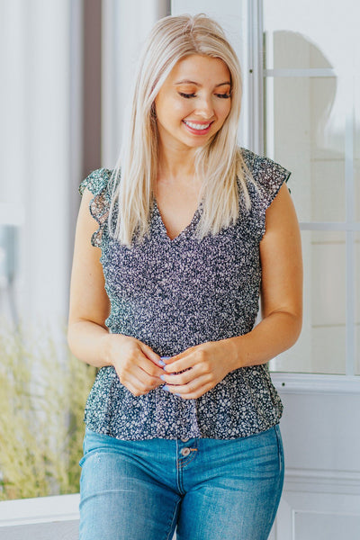 Singled Out Smocked Floral Tank in Black - Filly Flair