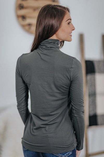 It Takes Two Cinched Mock Neck Long Sleeve Basic Top in Ash Grey - Filly Flair