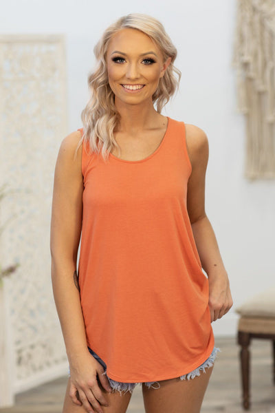 Lucky In Love Solid Tank Top In Copper - Filly Flair