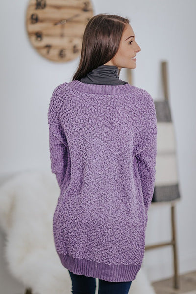 Hand In Hand Popcorn Sweater Cardigan in Lilac Grey - Filly Flair