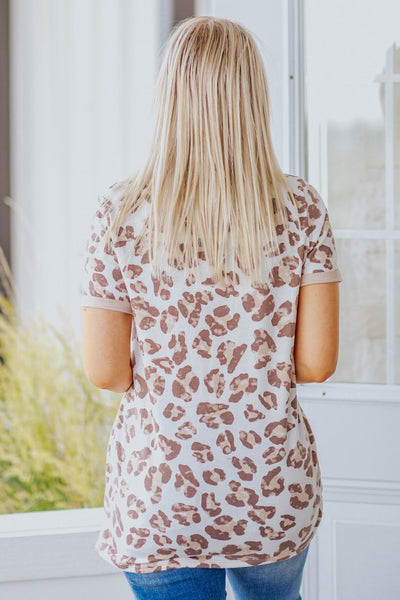 You're Gonna Hear Me Roar Leopard Print Short Sleeve Top in Taupe - Filly Flair