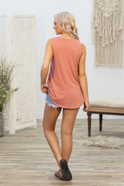 Lucky In Love Solid Tank Top In Mauve - Filly Flair