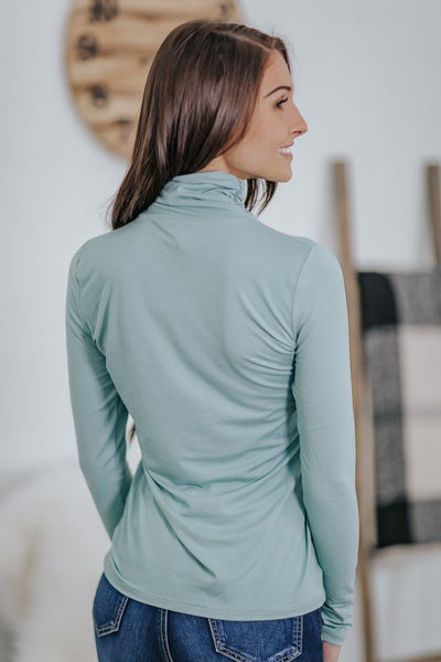 It Takes Two Cinched Mock Neck Long Sleeve Basic Top in Light Green - Filly Flair
