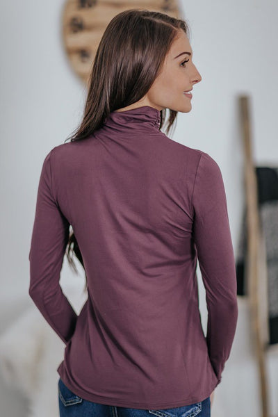 It Takes Two Cinched Mock Neck Long Sleeve Basic Top in Eggplant - Filly Flair