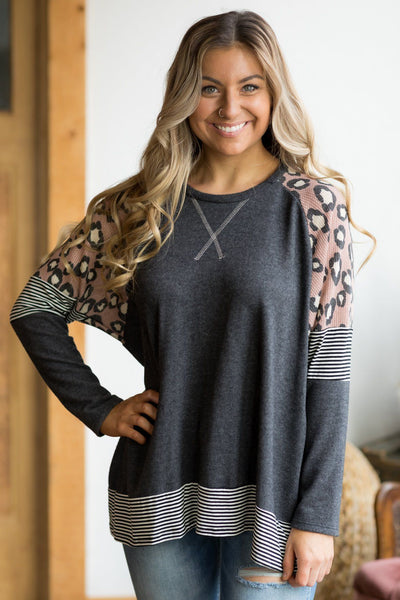 I Miss You More Animal Print Long Sleeve Top in Charcoal - Filly Flair