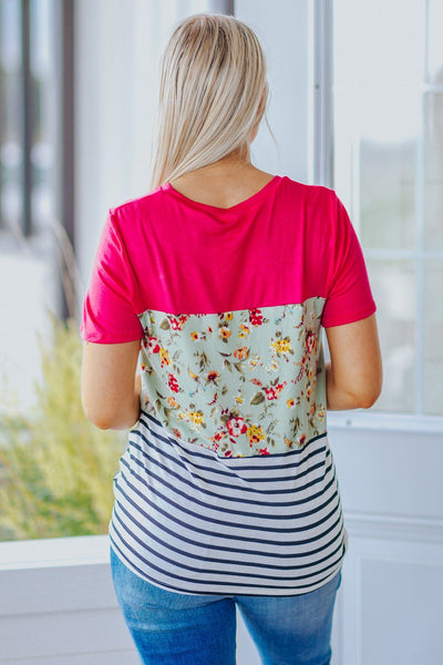 This Is Me Color Block Floral Detail Front Knot Short Sleeve Top in Fuchsia - Filly Flair