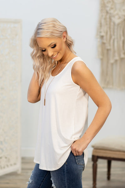 Lucky In Love Solid Tank Top In White - Filly Flair