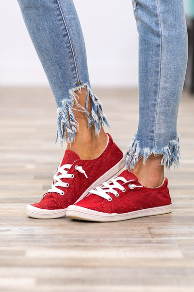 Shining Bright Shimmer Sneakers in Red - Filly Flair