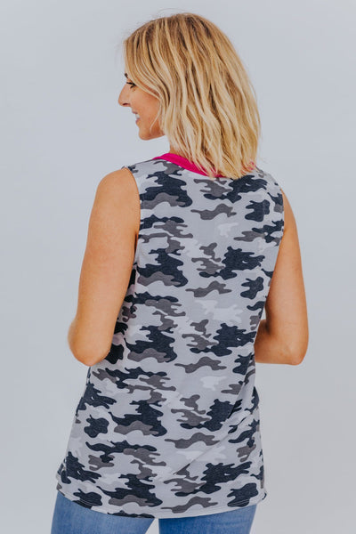 You Make It Easy Camo Print V-Neck Tank Top in Fuchsia - Filly Flair