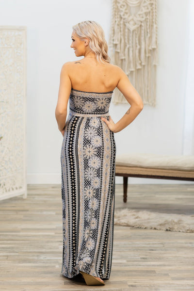 Feeling So Good Printed Strapless Maxi Dress in Black Blue - Filly Flair
